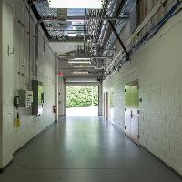 View of the loading dock hallway that enters onto the arena floor