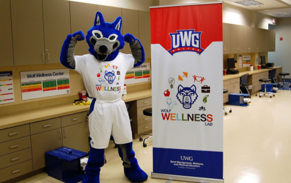 Wolfie uwg mascot in the Wolf Wellness Lab