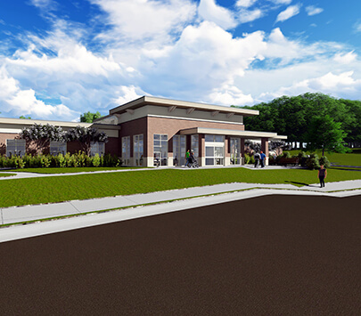 Photo of a rendering of the University of West Georgia's newly approved student health center.