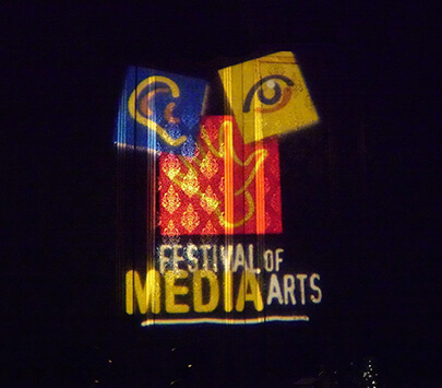 Photo of Broadcast Education Association's sign that reads Festival of the Media Arts