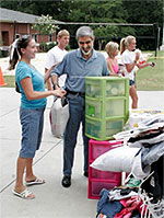 Dr. Beheruz N. Sethna helping out during Move In Day