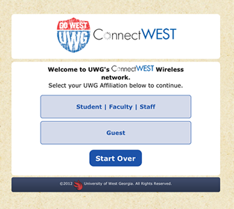 connectWest Welcome Screen