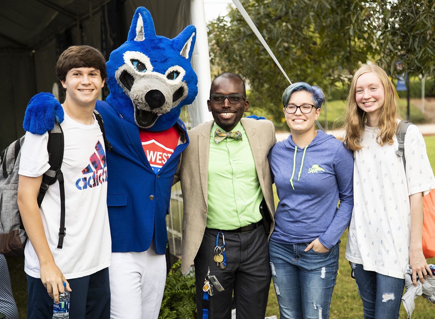 Wolfie with UWG Students