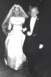 "MacGregor ""Mac"" Flanders, walking his daughter, Betsy, down the aisle in 1963"
