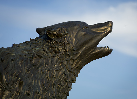 Statue of a wolf at UWG