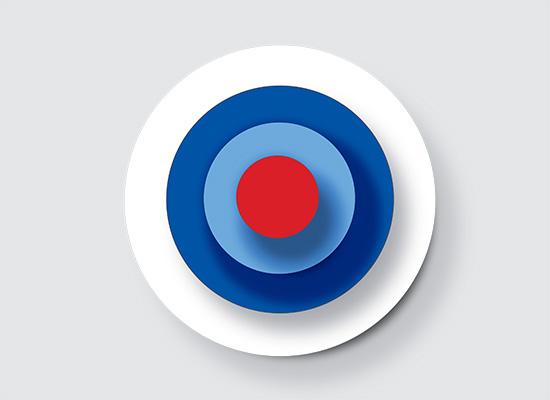 Red, blue, and white bullseye