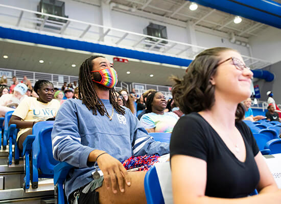 Students in the audience listen to Convocation