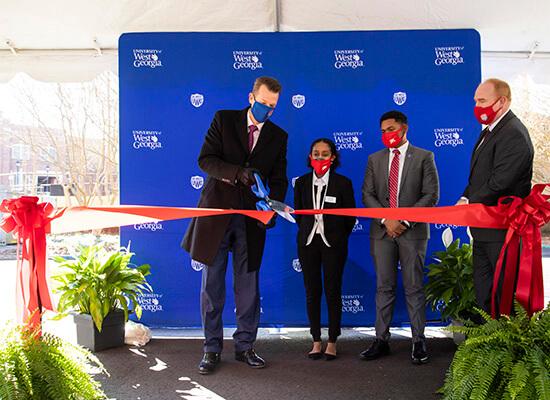 L to R: Dr. Brendan B. Kelly, Ziada Mengistu, Khareem Leslie and Dr. Jon A. Preston