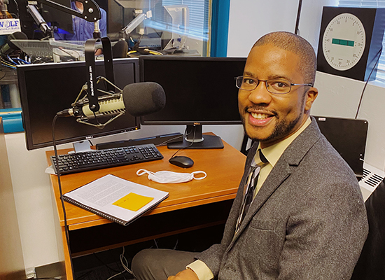 Dr. Christopher Jett at the UWG radio station