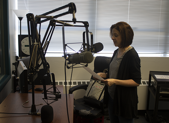 Dr. Dena Kniess at the UWG radio station