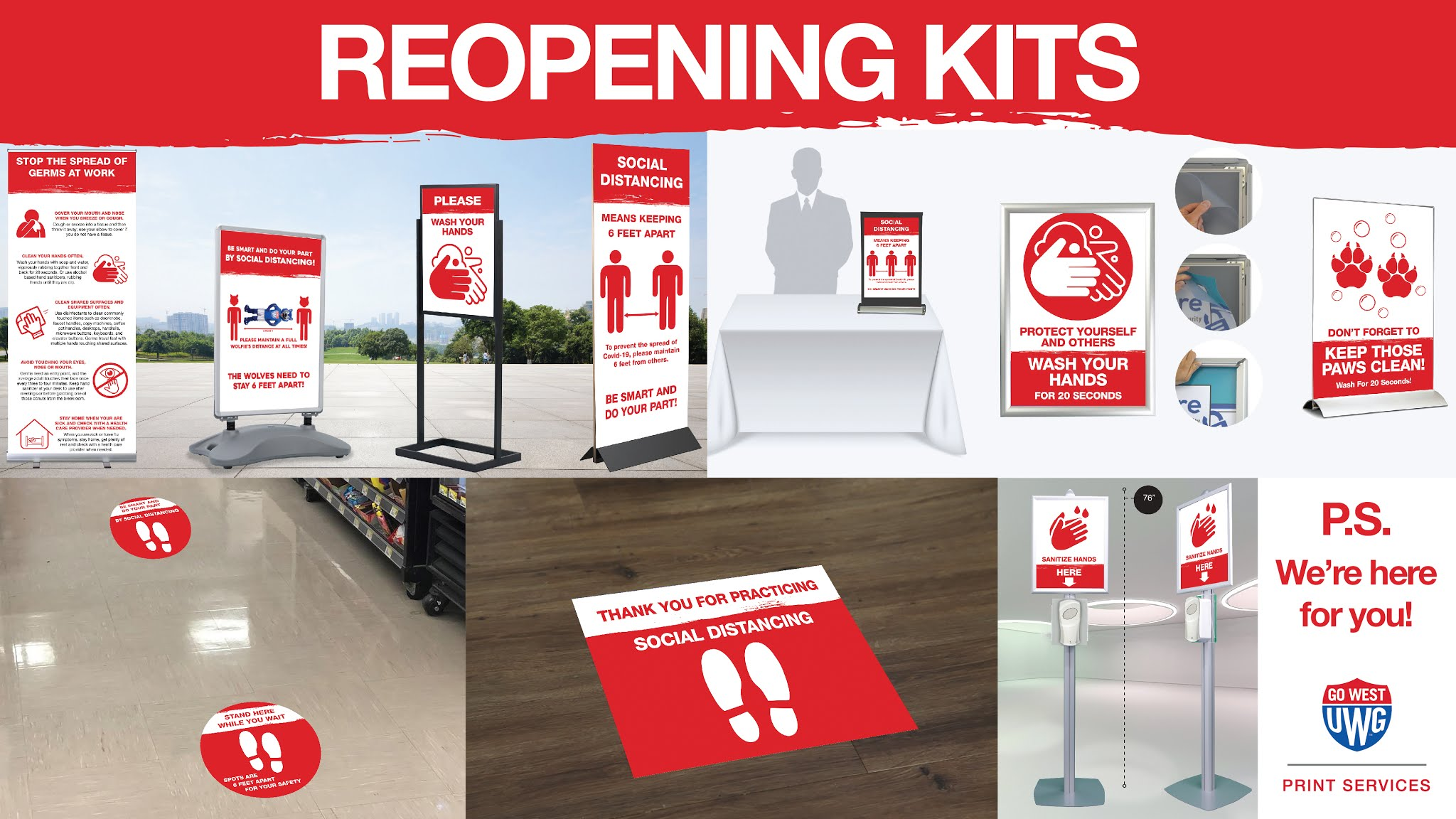 Reopening kit print item examples such as COVID information standing banners and social distancing floor markers.