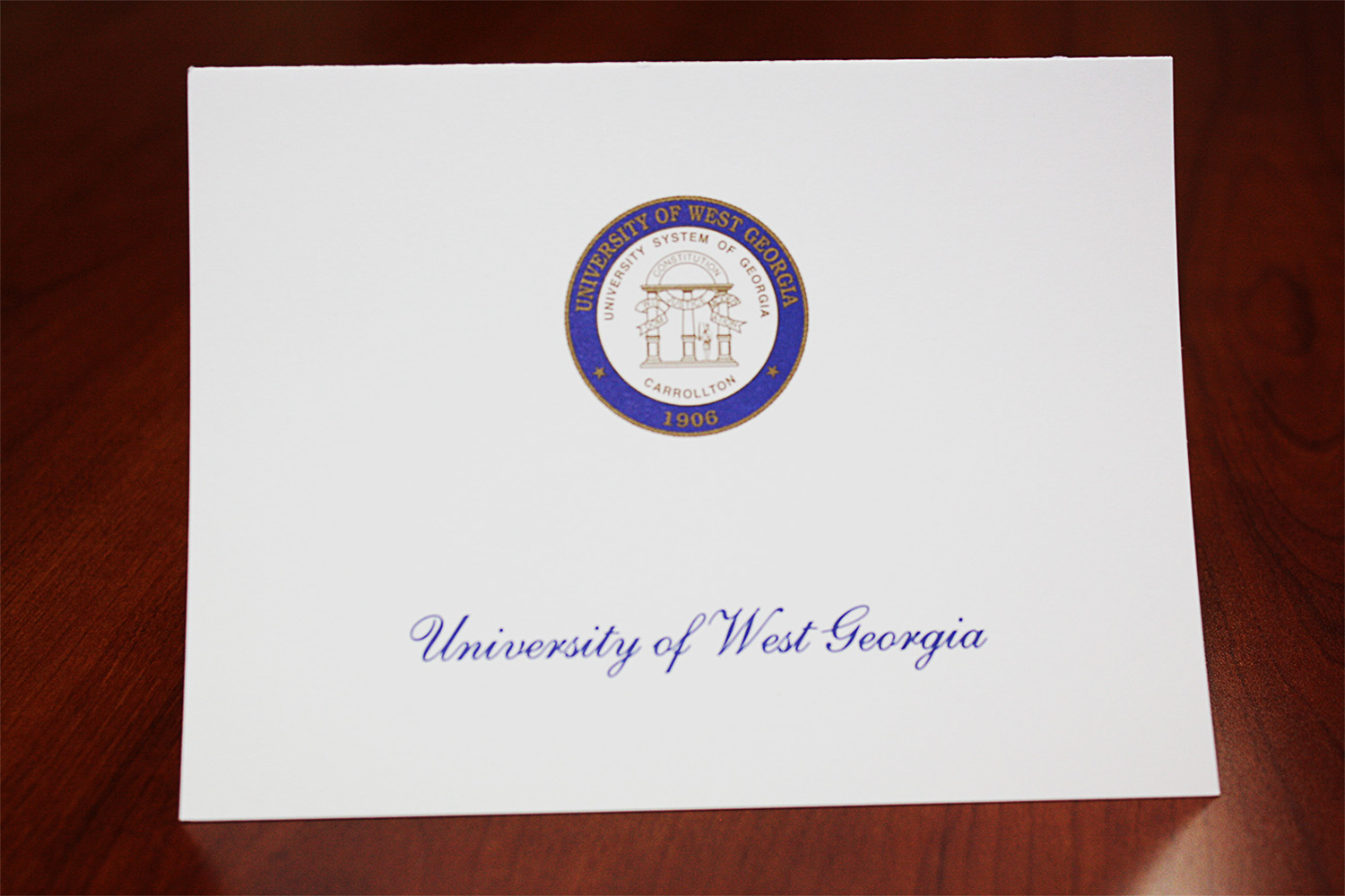 Blue and Gold UWG seal Thank you card example