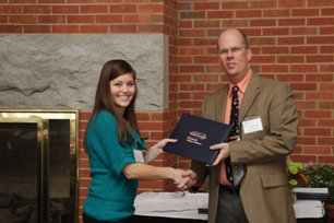 Megan Powers (Donna and Wayne Tervo Accounting Scholarship recipient) and Dr. Wayne Tervo