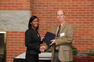 Jasmine Smith (Donna and Wayne Tervo Accounting Scholarship recipient) and Dr. Wayne Tervo