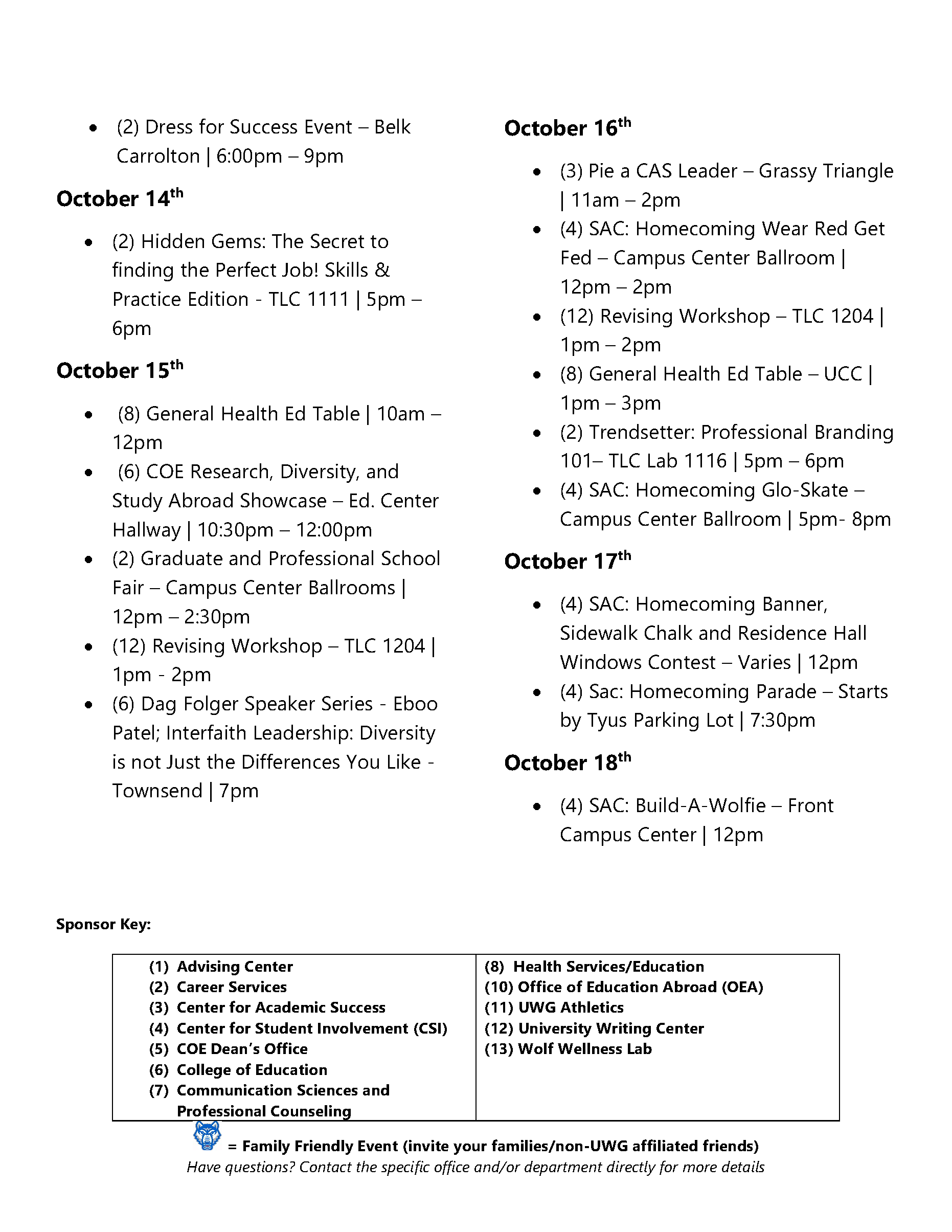 Page 3 of October Activities Calendar