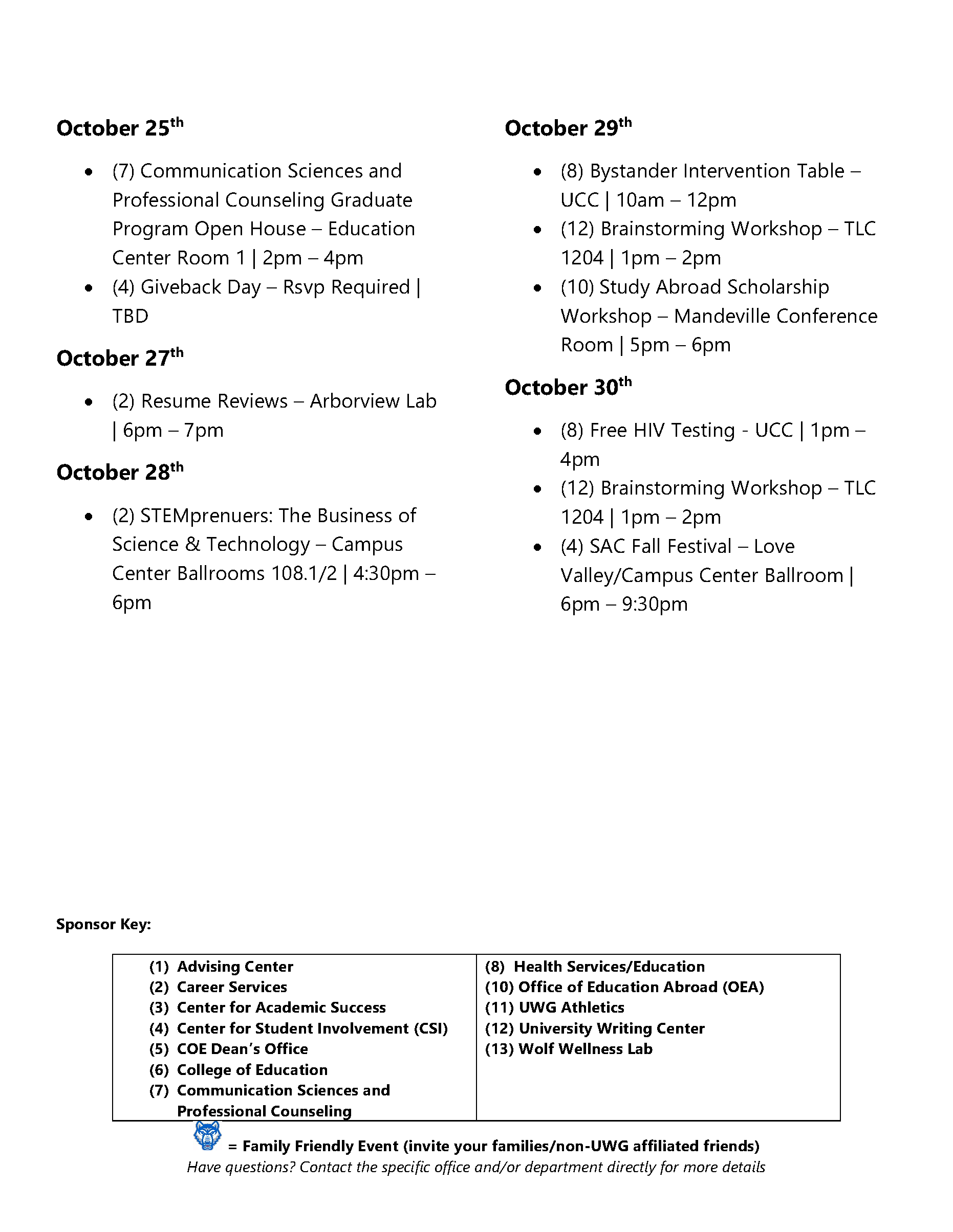 Page 5 of October Activities Calendar