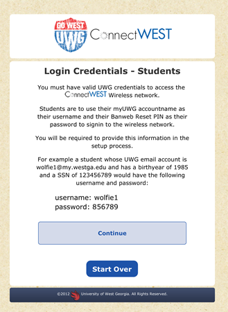 Student Login Credentials