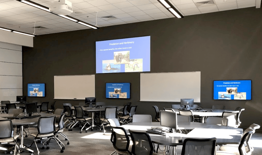 Room with tables, computer monitors, and projection screens.