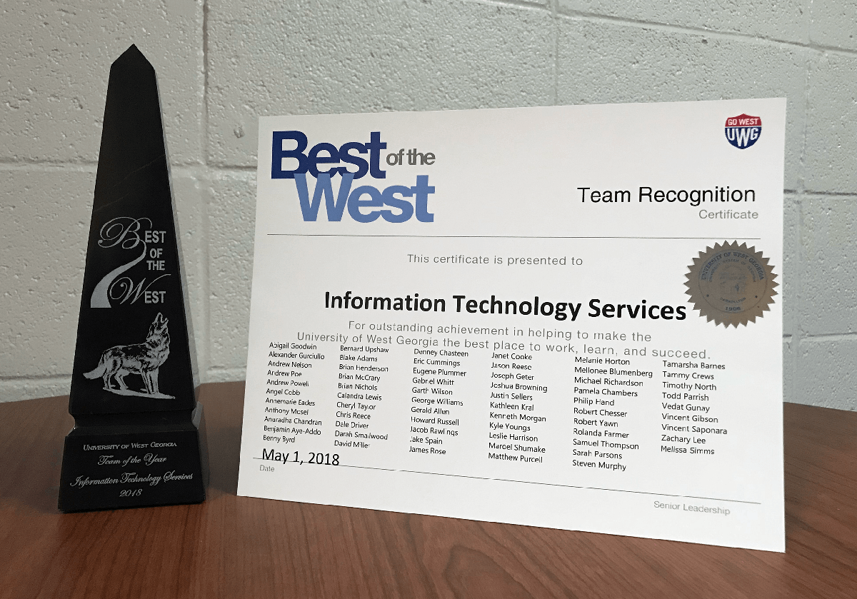 Best of the West trophy and certificate