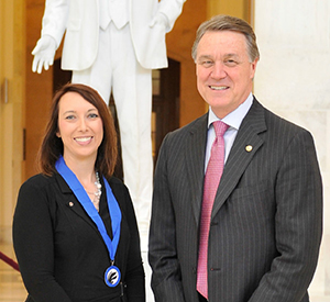 Jessica Ainsworth and Senator David Perdue (R-GA). Photo credit: National Association of Secondary School Principals