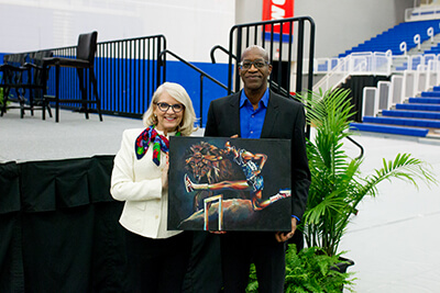 Dr. Dianne Hoff and Edwin Moses
