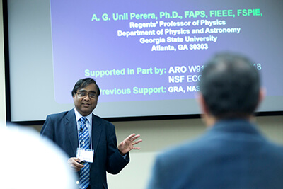 Georgia State University's Dr. A.G. Unil Perera giving the keynote speech