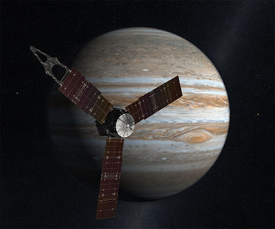 I realistic rendering of what the Juno spacecraft looks like as it passes before Jupiter