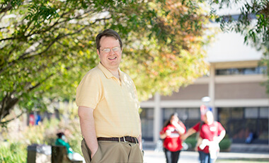 """A distinct pride resonates though campus when an alum """"Returns West"""" to pursue his or her career.  In the case of UWG alum Dr. Logan Leslie—assistant professor in chemistry since fall of 2017, following two years as limited term instructor—this sense of homecoming is not limited to his decision to instruct here. His voyage full circle has an even deeper meaning once you know his history."""