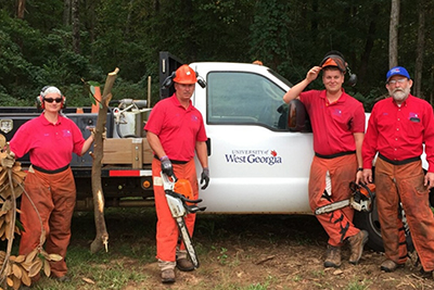 UWG employees help ASU clean up after Hurricane Michael.