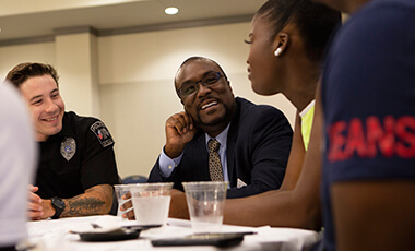 More than 100 University of West Georgia students gathered recently to have open conversations with local law enforcement at UWG's fourth Blue Mocktail Townhall event.