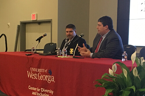 UWG Police Chief Tom Saccenti and CPD Police Chief Joel Richards spoke to the crowd.