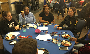 A group of more than 100 students shared honest conversations with local law enforcement at the University of West Georgia recently during an event hosted by the UWG Police Department (UPD) and the Center for Diversity and Inclusion (CDI).
