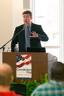 Dr. Greg Dixon speaks on Constitution Day at the University of West Georgia's Ingram Library.