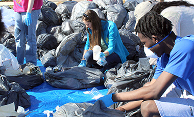 University of West Georgia students walked through a sea of trash last week in an effort to educate others about recycling.