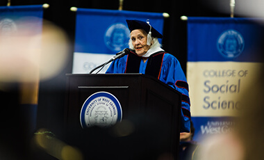 Nellie Dunaway Duke was born on the 20th anniversary of International Women's Day. That's not a coincidence. Duke, 87, has spent her life working to improve the lives of women in Georgia and throughout the world, and on Thursday, she received an honorary doctorate from the University of West Georgia after speaking during UWG's spring commencement.