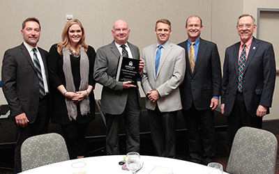 Left to right: Ken Teifer, VP sales, Stanley Security Solutions – SE region; Sharla Hardin, regional sales manager, Stanley Security Solutions; Tom Mackel, police chief, UWG; Paul Hevsey, VP sales, Stanley Security Solutions; Ken Hills, systems integration consultant, Stanley Security Solutions; Jim Sutherland, vice president business and finance, UWG