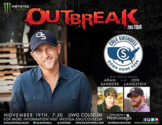Cole Swindell Outbreak concert poster
