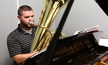 In honor of Veteran's Day, we focus on UWG student and U.S. Marine veteran Sgt. Jacob Harper. Recognizing his considerable musicianship, the Marines enlisted him as a tuba player. He is now studying Music Education at UWG and intends to teach music in Georgia after he graduates. Today, we salute Harper and all the veterans who have proudly served our country.