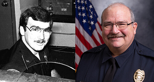 "Dr. George E. ""Ned"" Watson in the 1980s, left, and 2019, right"