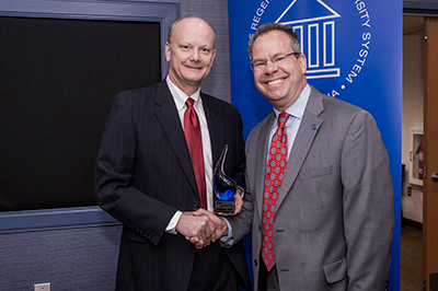 Chancellor Dr. Steve Wrigley and UWG President Dr. Kyle Marrero