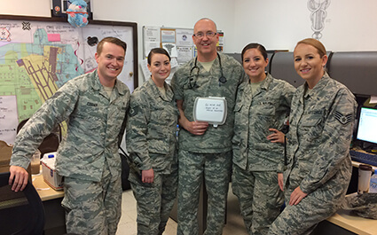 Photo of University of West Georgia employee and alumnus Jim Martin with fellow servicemembers