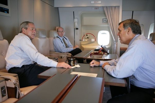 Rob Hood, middle, and George W. Bush on Air Force One
