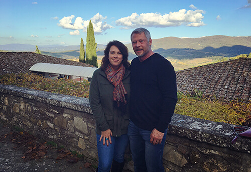 Denice Perdue and husband, Derrick, in Italy.