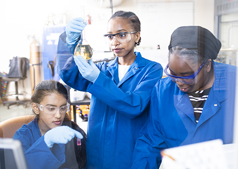 UWG Honor students working in the science lab.