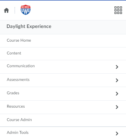 Daylight hamburger menu expanded