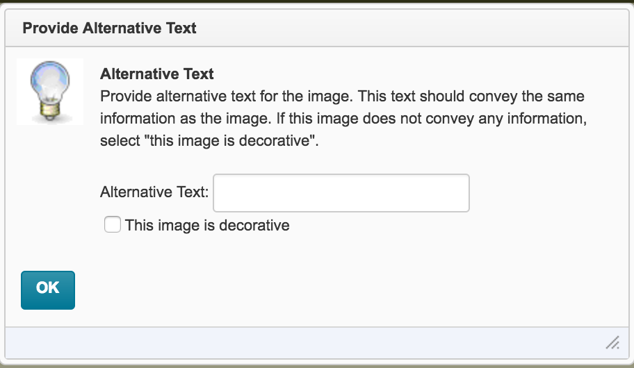 screenshot of the provide alternative text warning in D2L